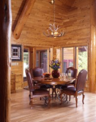 Log Home By Golden Eagle Log and Timber Homes - golden eagle log logs cabin home homes house houses rustic knotty pine custom design designs designer floor plan plans kit kits building luxury built builder complete package packages tall ceilings dining room log rafters massive log trim cathedral