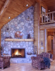 Log Home By Golden Eagle Log and Timber Homes - golden eagle log logs cabin home homes house houses rustic knotty pine custom design designs designer floor plan plans kit kits building luxury built builder complete package packages great room log ceiling raptors and matched planks real stone fireplace well appointed furnishing copper banding on mantle