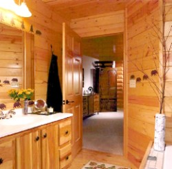 Log Home By Golden Eagle Log and Timber Homes - golden eagle log logs cabin home homes house houses rustic knotty pine custom design designs designer floor plan plans kit kits building luxury built builder complete package packages master bathroom sweet warm wood interior small log cabin kit