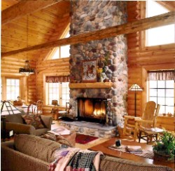 Log Home By Golden Eagle Log and Timber Homes - golden eagle log logs cabin home homes house houses rustic knotty pine custom design designs designer floor plan plans kit kits building luxury built builder complete package packages beautiful great room with tall huge stone fireplace in a small log cabin kit