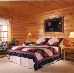 Log Home By Golden Eagle Log and Timber Homes - golden eagle log logs cabin home homes house houses rustic knotty pine custom design designs designer floor plan plans kit kits building luxury built builder complete package packages interior image of a master bedroom peeled log smooth tongue and groove boards rustic decor