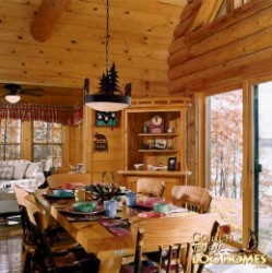 Log Home By Golden Eagle Log and Timber Homes - golden eagle log logs cabin home homes house houses rustic knotty pine custom design designs designer floor plan plans kit kits building luxury built builder complete package packages interior inside picture view of dining room kitchen table in a small log cabin kit