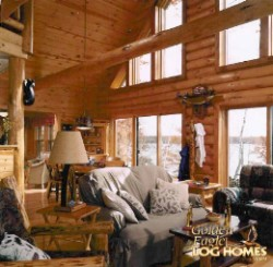 Log Home By Golden Eagle Log and Timber Homes - golden eagle log logs cabin home homes house houses rustic knotty pine custom design designs designer floor plan plans kit kits building luxury built builder complete package packages interior view of a small log cabin kit great room living room open concept 8 inch peeled logs and log tie beams
