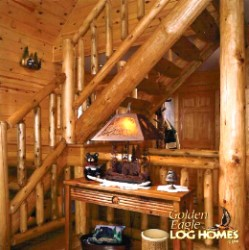 Log Home By Golden Eagle Log and Timber Homes - golden eagle log logs cabin home homes house houses rustic knotty pine custom design designs designer floor plan plans kit kits building luxury built builder complete package packages picture of a half lug stairway stringers half log treads round pill spindles first 1st floor to loft