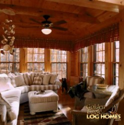 Log Home By Golden Eagle Log and Timber Homes - golden eagle log logs cabin home homes house houses rustic knotty pine custom design designs designer floor plan plans kit kits building luxury built builder complete package packages very well decorated four season room cozy wood window grills double hung windows ceiling fan on log support beam