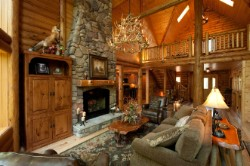 Log Home By Golden Eagle Log and Timber Homes - golden eagle log logs cabin home homes house houses rustic knotty pine custom design designs designer floor plan plans kit kits building luxury built builder complete package packages luxurious upscale well appointed furniture and decor magnificent prow window wall opulent stone fireplace with custom covered mantle