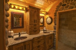 Log Home By Golden Eagle Log and Timber Homes - golden eagle log logs cabin home homes house houses rustic knotty pine custom design designs designer floor plan plans kit kits building luxury built builder complete package packages upscale master bathroom cathedral ceiling top quality cabinets to bowl vanity granite stone wood tile design ideas