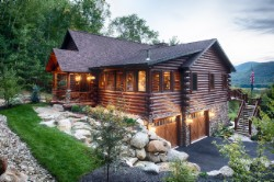 Log Home By Golden Eagle Log and Timber Homes - golden eagle log logs cabin home homes house houses rustic knotty pine custom design designs designer floor plan plans kit kits building luxury built builder complete package packages tuck under garage landscape butt pass corners three season room covered front entrance porch hillside floor plan