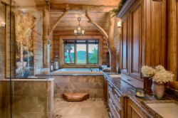 Log Home By Golden Eagle Log and Timber Homes - golden eagle log logs cabin home homes house houses rustic knotty pine custom design designs designer floor plan plans kit kits building luxury built builder complete package packages bathroom window soaking tub rustic cabinets granite top tile rustic exposed beams custom luxury