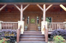 Log Home By Golden Eagle Log and Timber Homes - front porch stairs