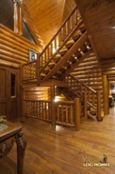 Log Home By Golden Eagle Log and Timber Homes - foyer area view 2