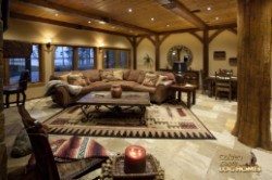Log Home By Golden Eagle Log and Timber Homes - lower level   family room area   view 2