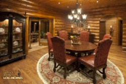 Log Home By Golden Eagle Log and Timber Homes - formal dining area