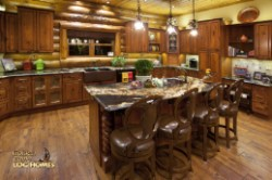 Log Home By Golden Eagle Log and Timber Homes - kitchen prep area
