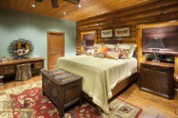 Log Home By Golden Eagle Log and Timber Homes - master bedroom view3