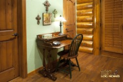 Log Home By Golden Eagle Log and Timber Homes - study desk