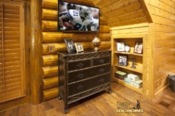 Log Home By Golden Eagle Log and Timber Homes - loft bedroom view 2